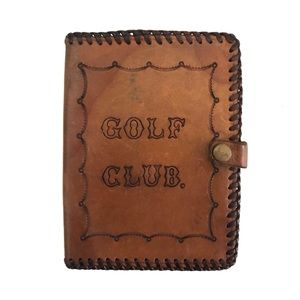 Rare Vintage Leather Golf Club Pouch 2 internal pockets Tooled Leather Patina